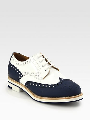 James Perse Leather & Patent Wingtip Brogue Lace-Up