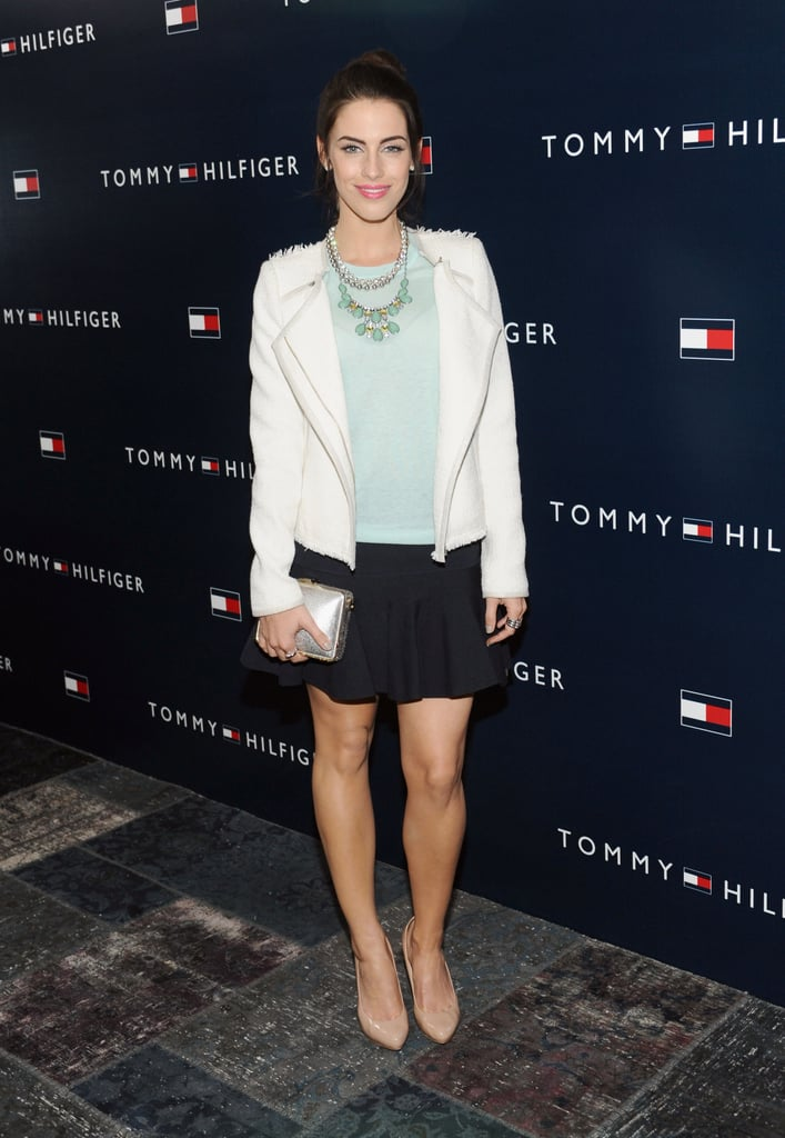 Sure, it's not as in-your-face, but don't forget about the subtle power of mint green. For a mellow look, mimic Jessica Lowndes's ensemble at the Topshop LA opening by sporting a mint-green tee with a matching bib necklace.