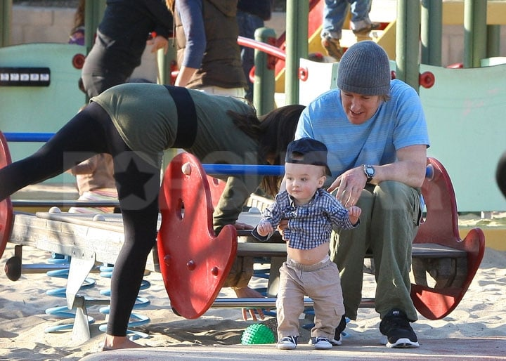 Owen Wilson and his son, Robert, both wore hats to the park.