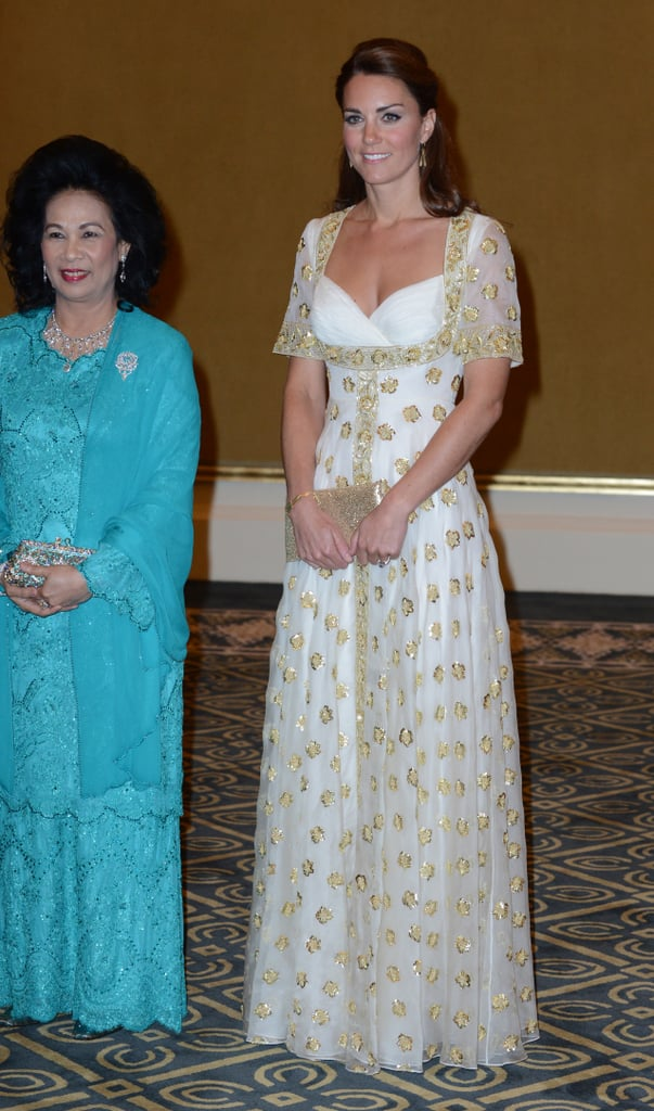 Kate wore a white and gold number when she attended a state dinner in Kuala Lumpur, Malaysia, back in September 2012.