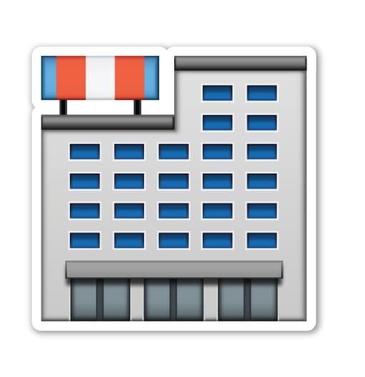 """Interpretation: """"Random building — could be an apartment complex, a hospital, or jail. Who knows?"""" Name + meaning: Department Store. A large department store, selling a range of products to the general public. Also known as: Shops emoji; shopping center emoji"""