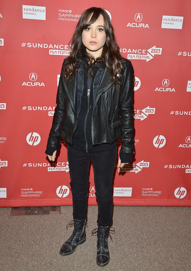 Ellen Page looked edgy in a black leather jacket and black lace-up combat boots.