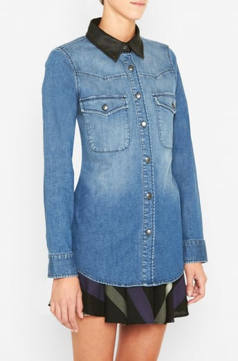 The BCBGeneration Contrast-Trim Denim Top ($98) receives an urban update with the addition of a black leather collar. Let it shine by buttoning it up all the way to the top.