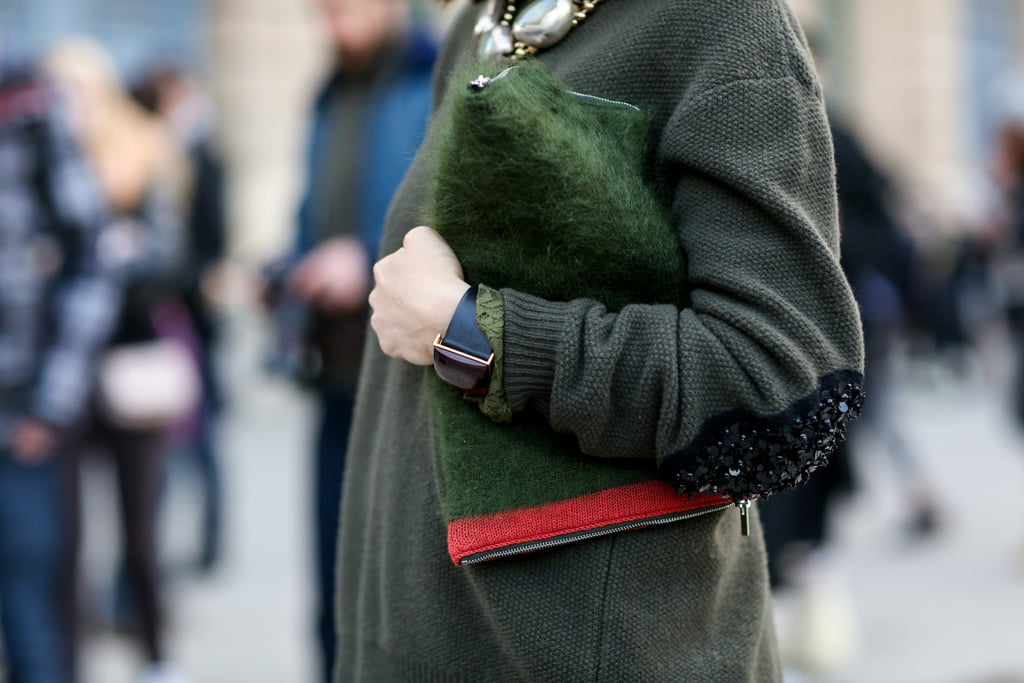 It may be understated, but this clutch comes with ample texture.