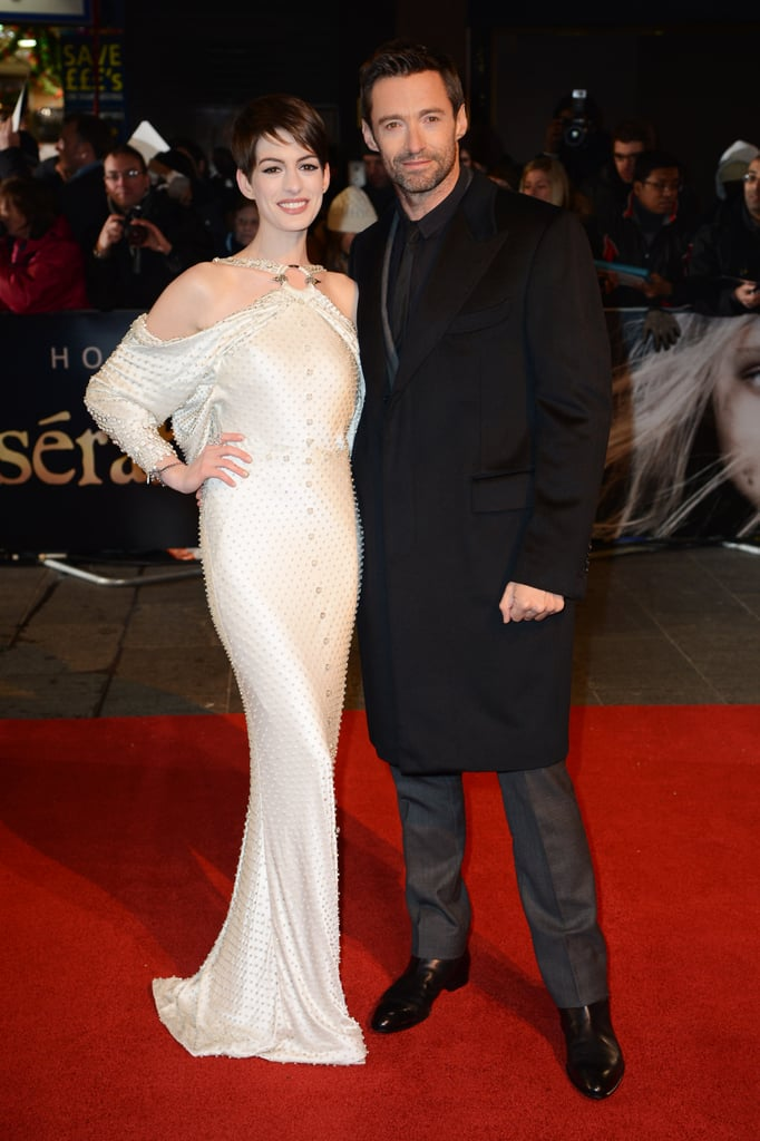 Anne Wears Dramatic White For Les Mis' World Premiere With Hugh, Amanda and Isla