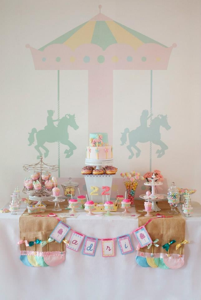 Dessert Table With Carousel Backdrop
