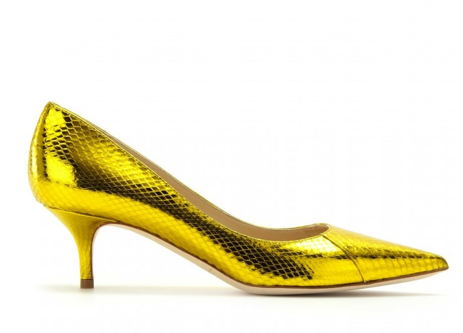 There's nothing like the snakeskin print and a high-shine yellow hue of these Jimmy Choo Aza metallic pumps ($475, originally 950) to leave a lasting impression.
