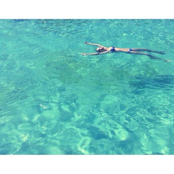 "Toni Garrn took a dip in ""Mallorca's largest pool."" Source: Instagram user toni_garrn"