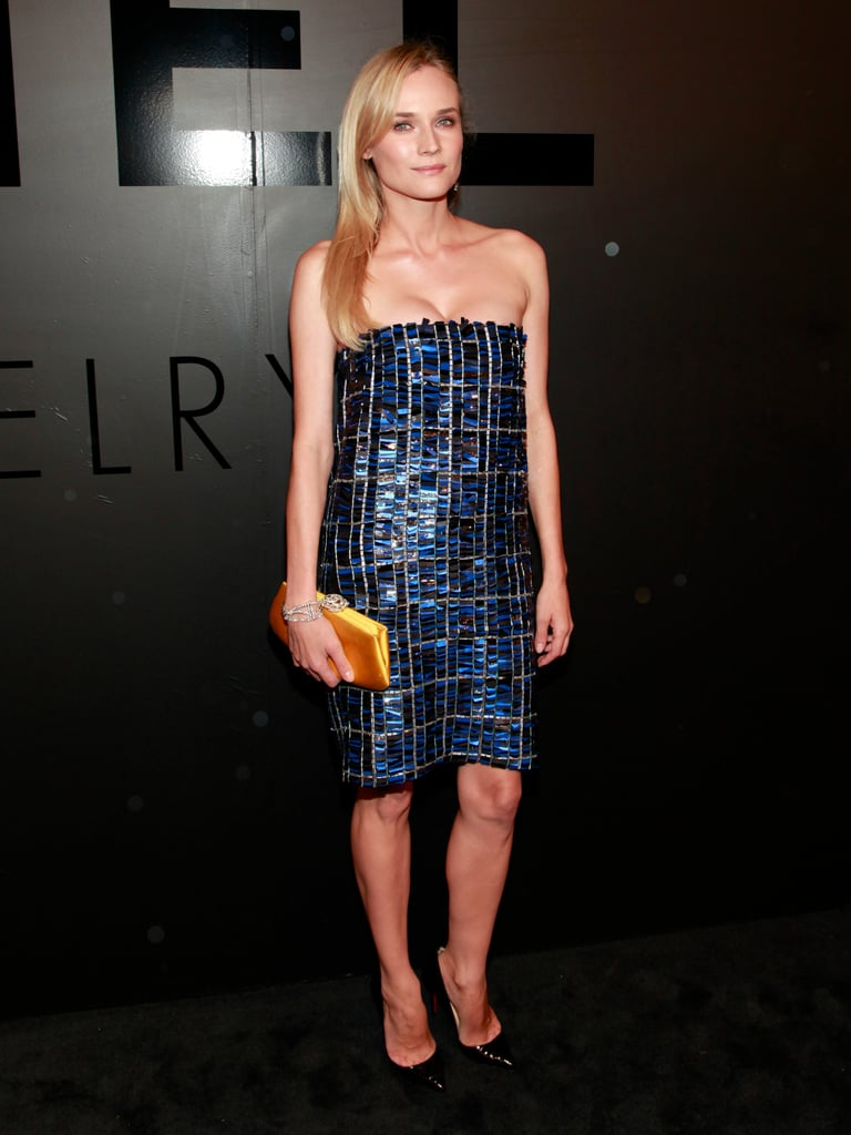 For the Chanel Bijoux De Diamant 80th Anniversary it was all about the sparkle factor. Working a cobalt and black Chanel minidress with patent pumps, a diamond-encrusted bracelet, and yellow satin clutch, Diane definitely dazzled.