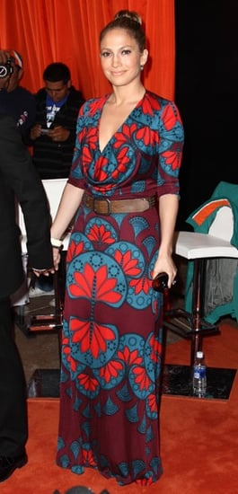 Jennifer Lopez in Geometric Mara Hoffman Maxi Dress at Miami Dolphins Game