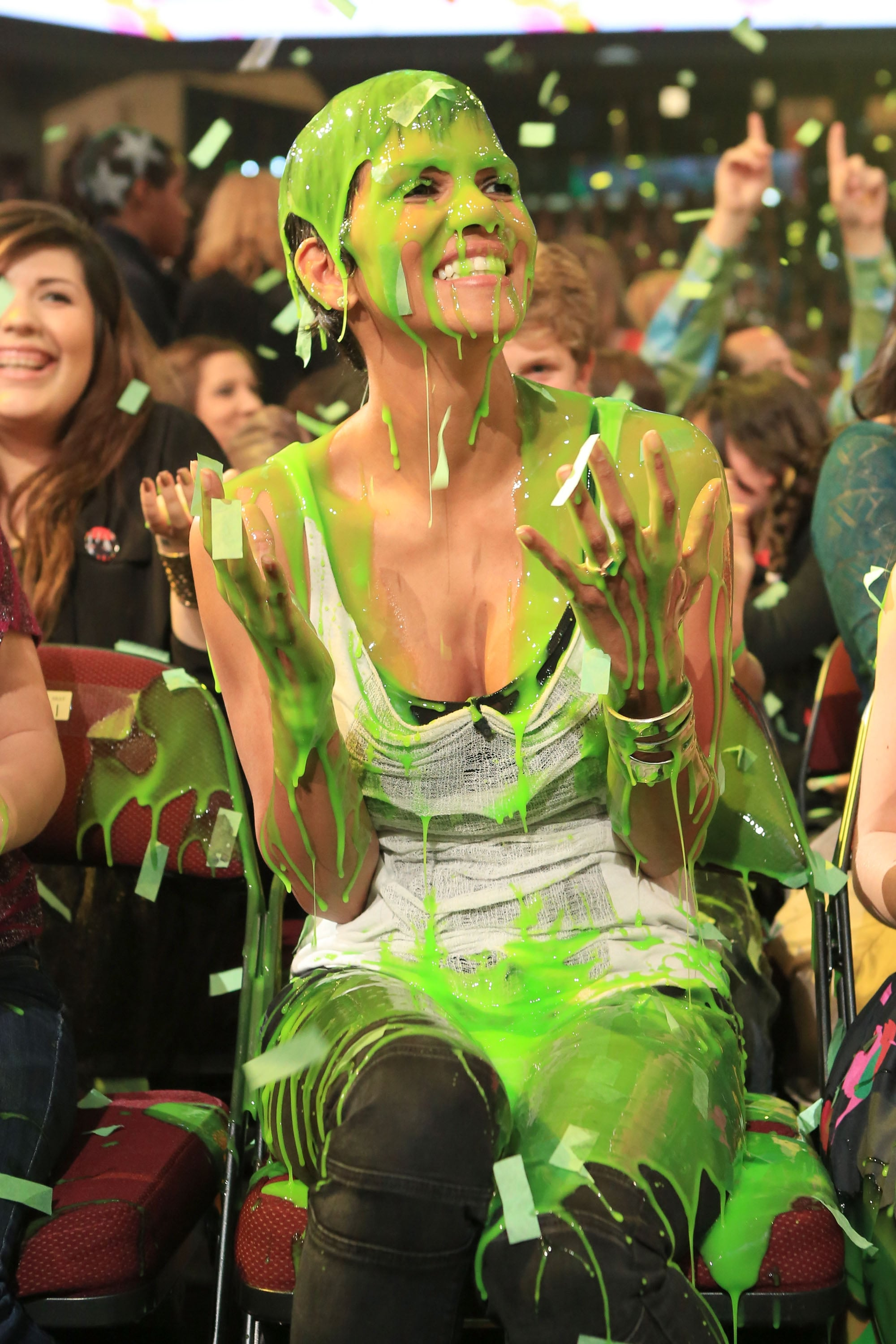 Halle Berry was taken by surprise when she got slimed in the audience in 2012.