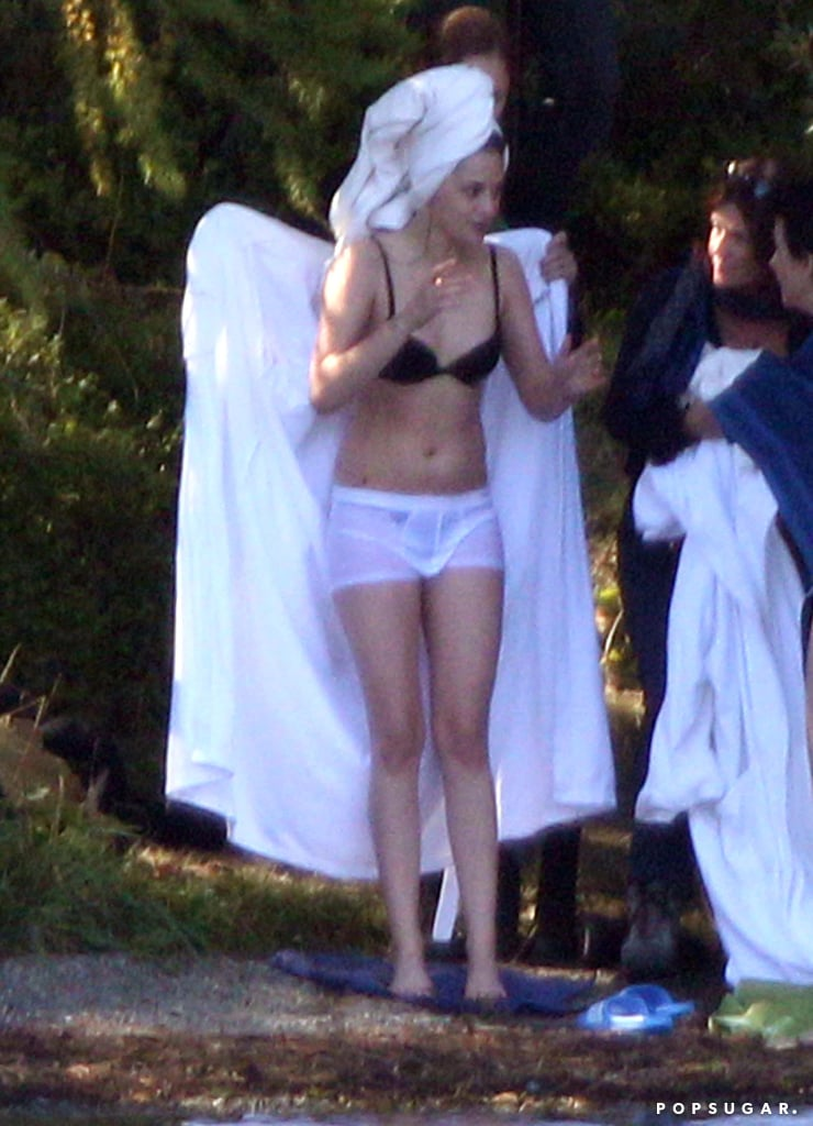 Kristen Stewart dried off after filming a scene in the water.