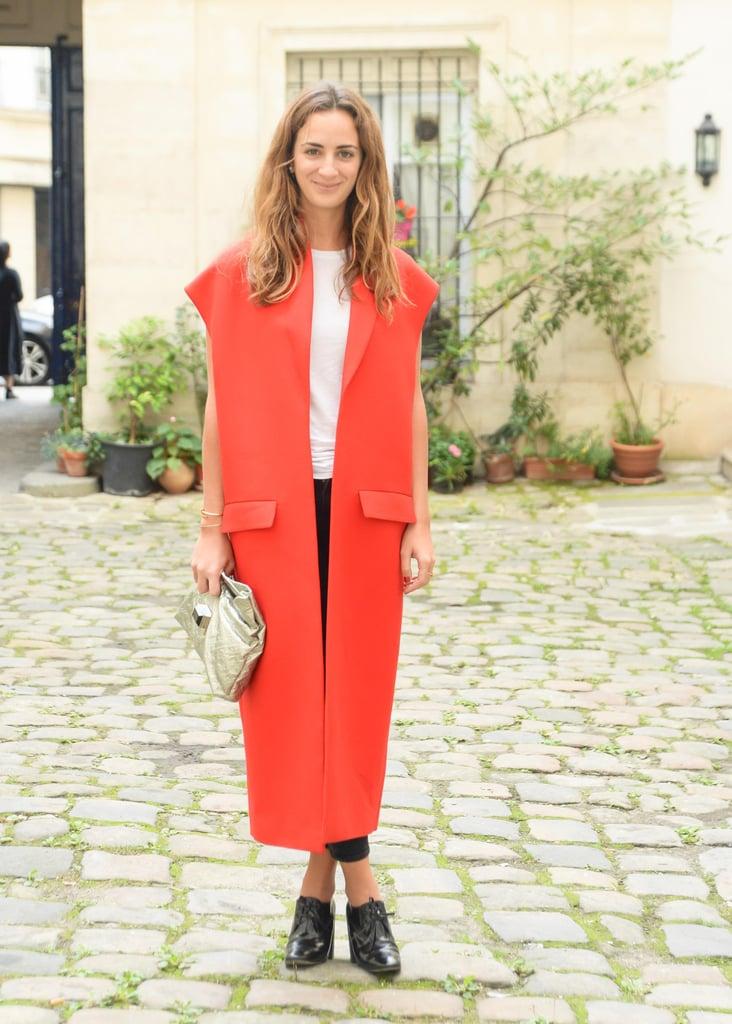 Alexia Niedzielski topped her style with a bright red design outside the Delfina Delettrez presentation in Paris.