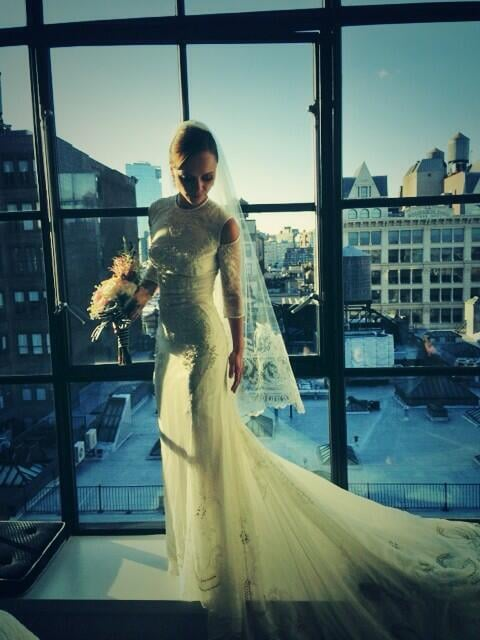 Christina Ricci showed off her Givenchy wedding gown from her NYC wedding to James Heerdegen on Twitter.  Source: Twitter user ChristinaRicci