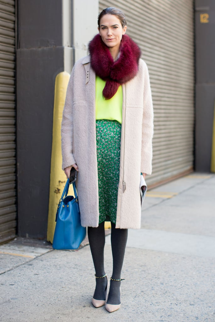 A bright pop of burgundy fur added a moody feel to this bright color story.
