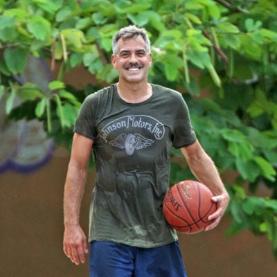 George Clooney Plays Basketball in Puerto Rico 2008-10-07 13:52:58