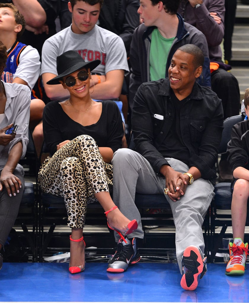 Jay-Z and Beyoncé Knowles laughed together.