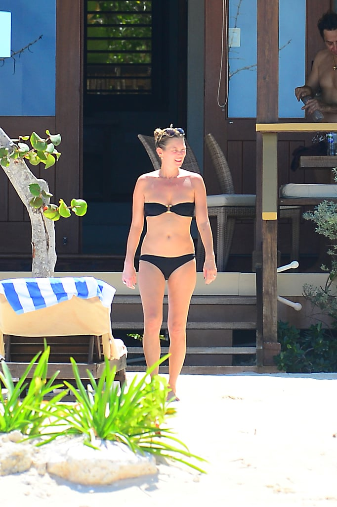 Kate Moss wore a black bikini in Jamaica.