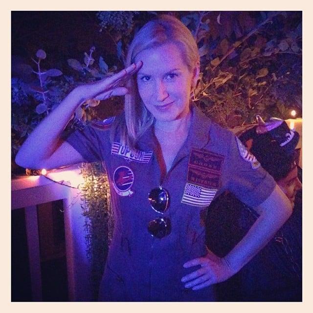 Angela Kinsey channeled Top Gun's Maverick for Halloween. Source: Instagram user angelakinsey