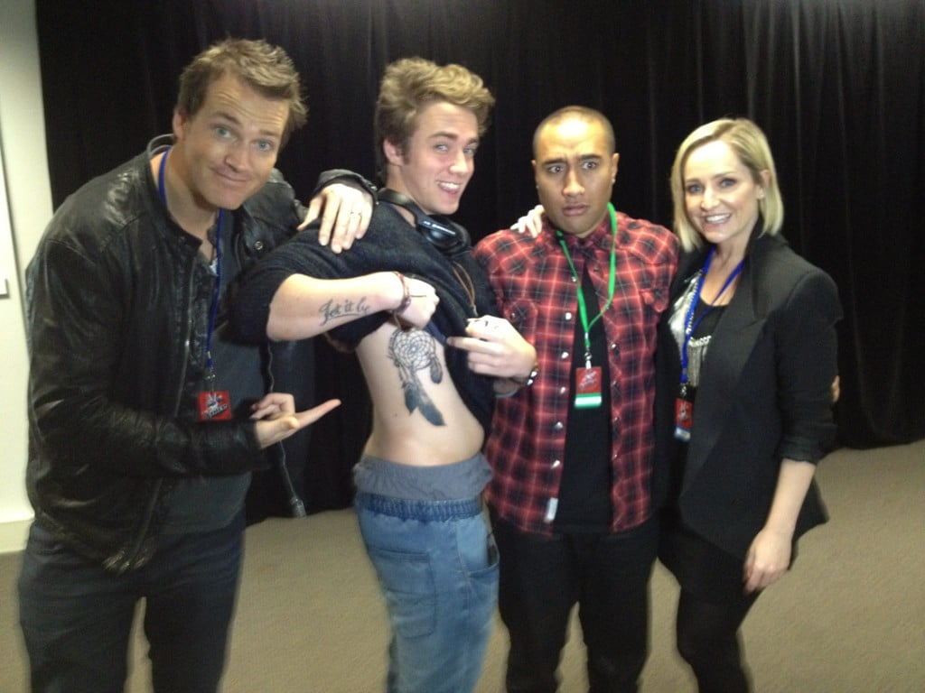 The Voice's Lakyn Heperi showed off his new tattoo to Fifi Box and Jules Lund. Source: Twitter user fifiandjules