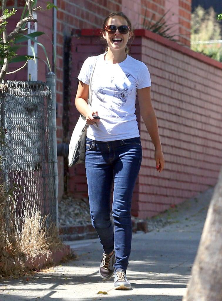 Natalie Portman smiled while walking around Los Feliz, CA, on Wednesday.