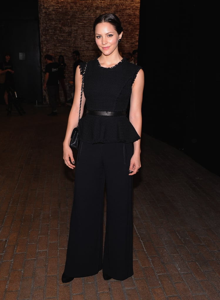 Katharine McPhee offered up a more dynamic all-black silhouette by way of a peplum top and wide-leg trousers at the Rebecca Taylor show.