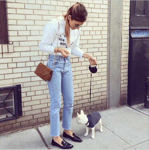 When simple is simply awesome — high-waisted denim, your go-to sweatshirt, and a polished pair of flats add up to a chic way to run weekend errands.  Source: Instagram user weworewhat
