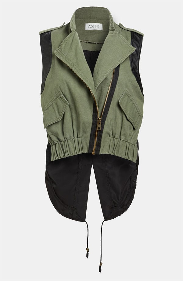 As we make the transition into Spring, I'm a little hesitant to toss my Winter anorak into the closet abyss. The style gods must have known I was in a dark place when they led me to this ASTR military-vest ($82). With its sage coloring, high-low hemline, and season versatility, it's the perfect transitional item to fill my military-inspired void.  — Mandi Villa, contributing editor