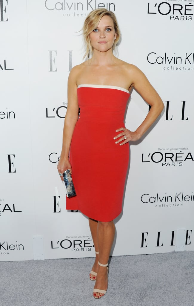 Taking a brighter approach, Reese Witherspoon wore Calvin Klein Collection to the same red carpet but let her minimalist dress's vibrant hue do all the talking.