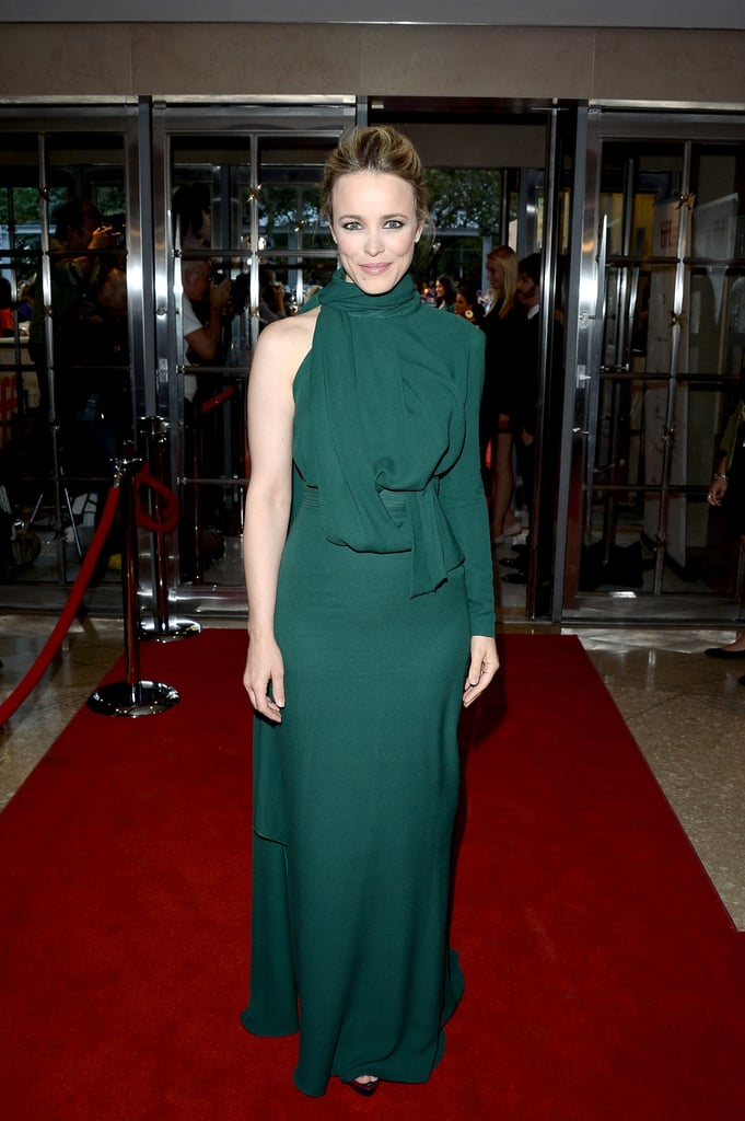 Rachel McAdams donned a elaborately draped — save for the one bare arm — Elie Saab gown to the premiere of To the Wonder.