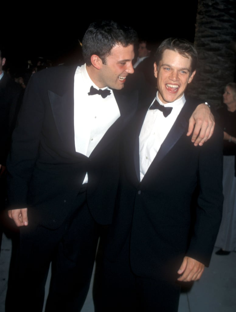 Ben Affleck and Matt Damon arrived arm in arm at the March 1999 post-Oscar Vanity Fair party in LA.
