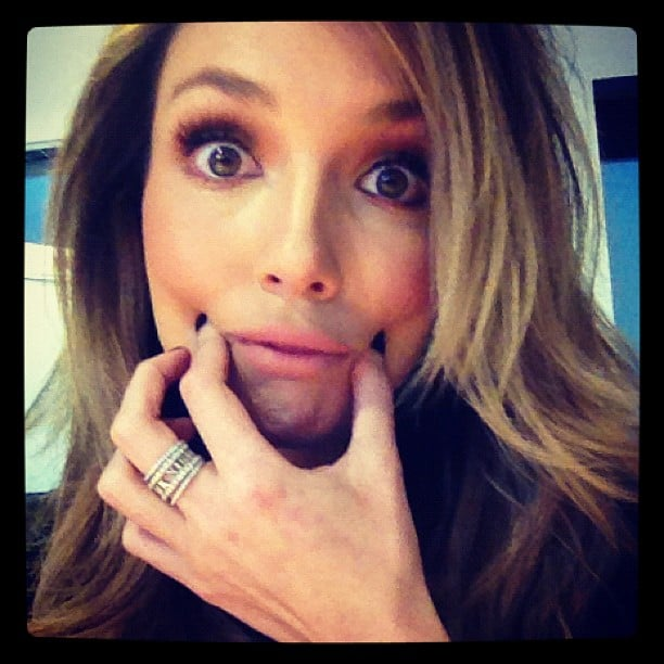 Ricki-Lee Coulter's vocal warm-up face. Source: Instagram user therickilee
