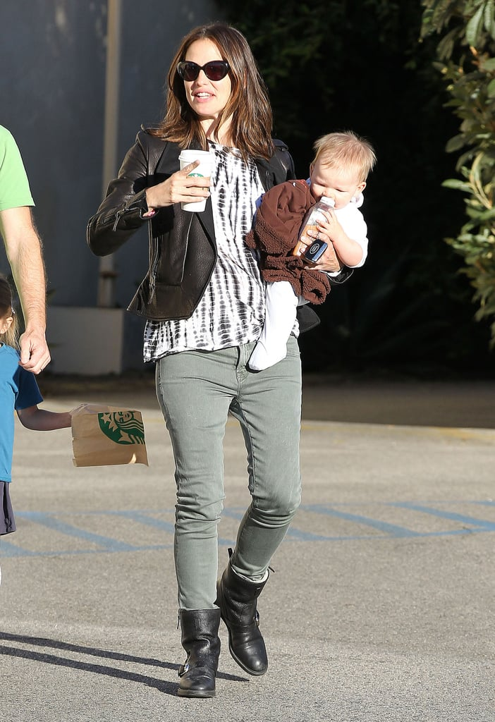 Jennifer Garner brought baby Samuel Affleck along to a friend's home in LA in October.