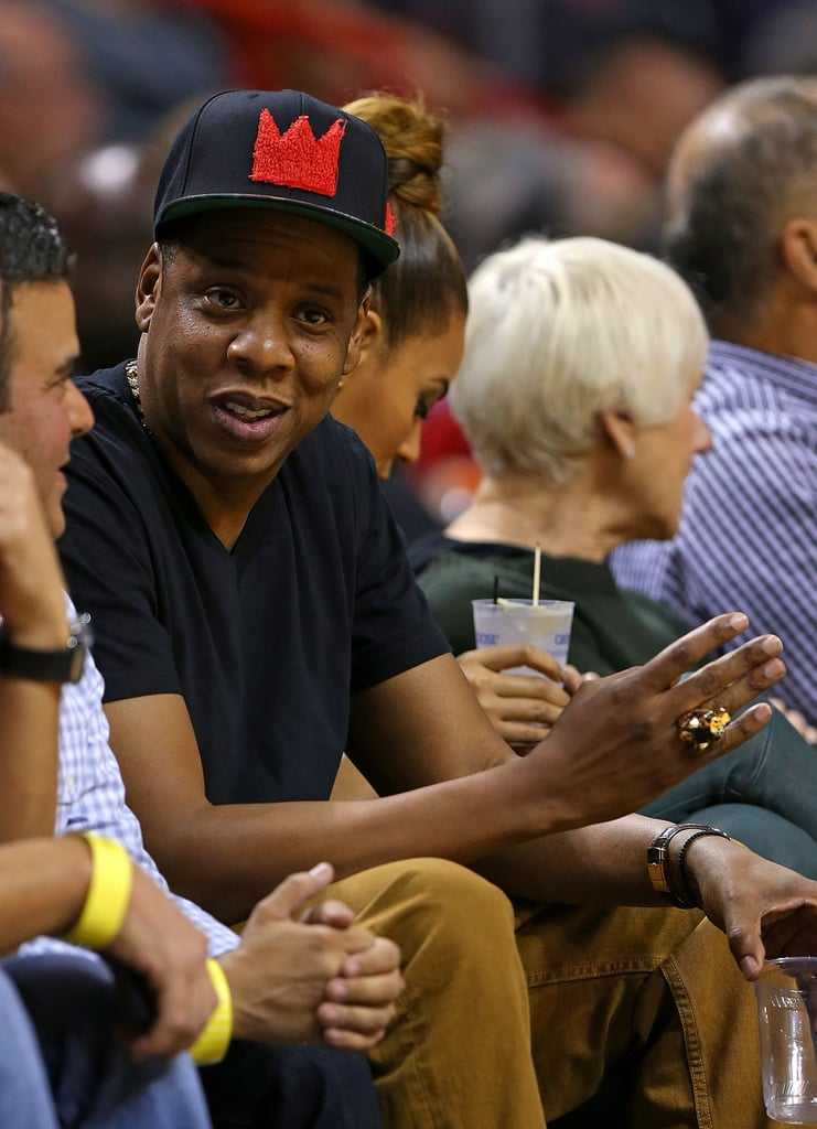 Jay-Z and Beyoncé sat courtside at the Atlanta Hawks-Miami Heat basketball game in Miami yesterday.