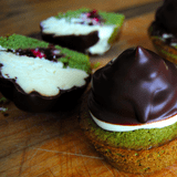 Matcha Cupcakes Filled With Raspberry Jam