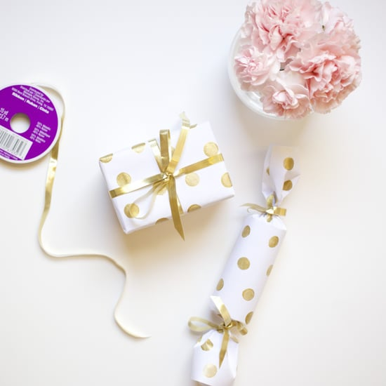 DIY Gold Polka-Dot Gift Wrap