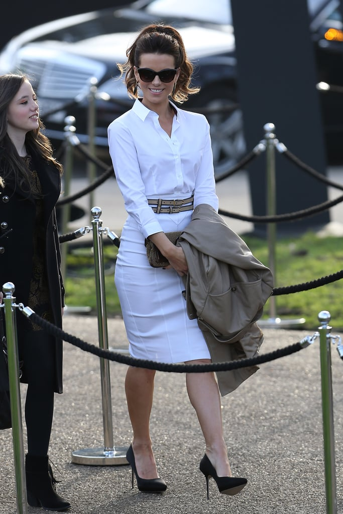 Kate Beckinsale wore all white when she arrived at the Burberry Prorsum fashion show in London in February.