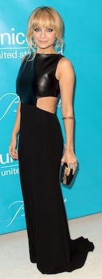Nicole Richie in Black Cutout Osman Gown