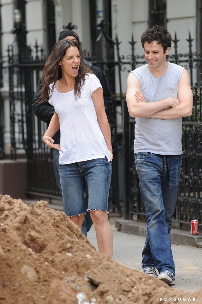 Katie Holmes reacted while filming Mania Days with Luke Kirby in NYC.