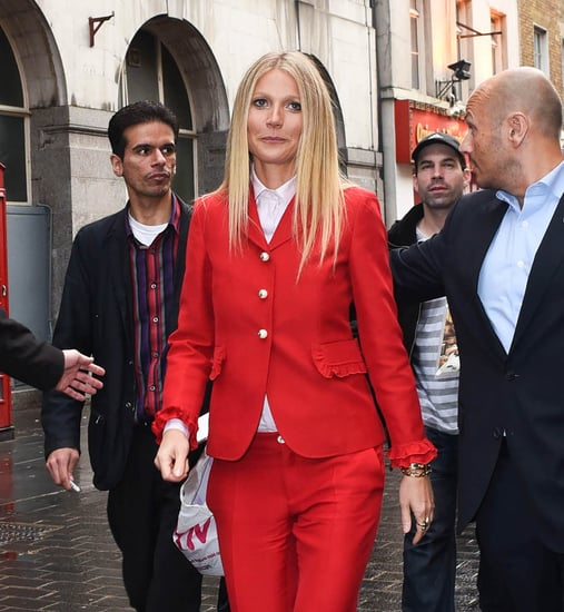 Gwyneth Paltrow says the world is trending towards wellness on Brexit Day in London in red Gucci suit