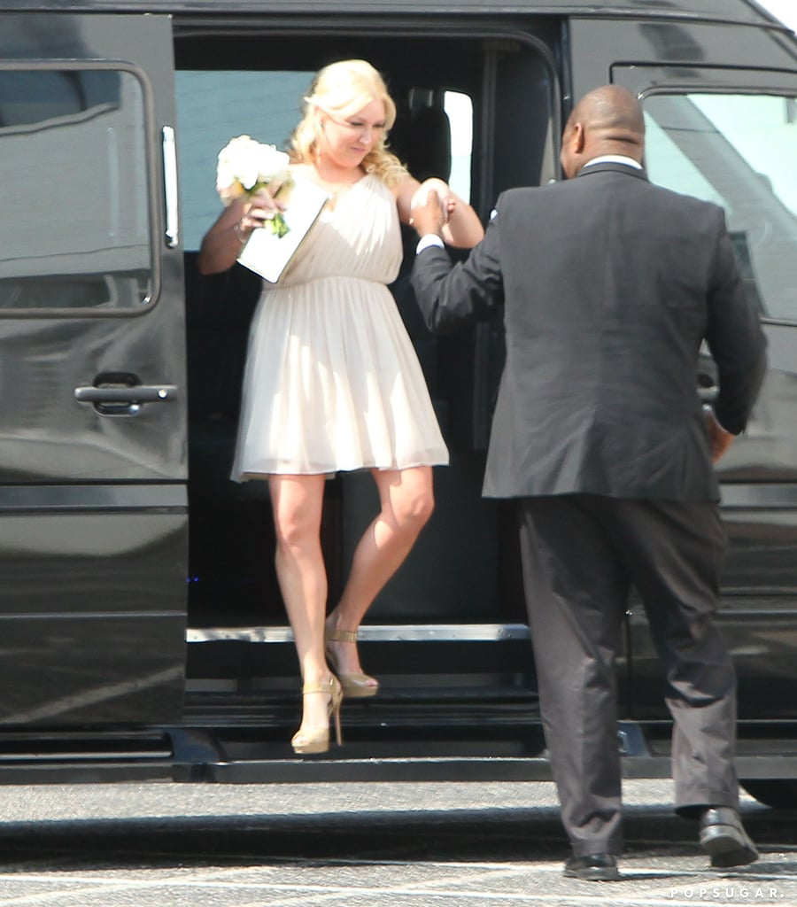 The guests arrived in style, and the bridal party wore beautiful blush dresses.
