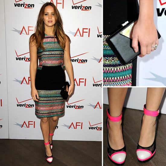 Jennifer Lawrence In Colourful, Fitted Prabal Gurung Dress