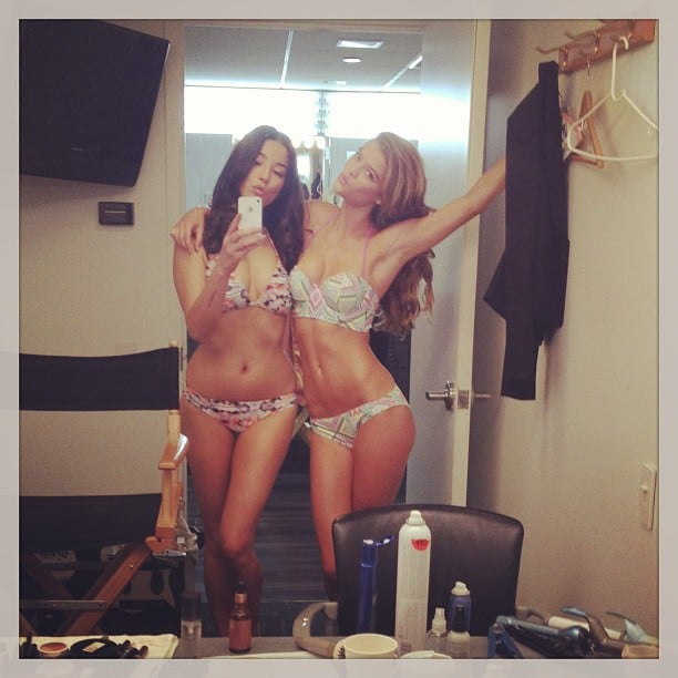 Jessica Gomes and fellow model Nina Agdal were bikini-ready ahead of their Sports Illustrated reveal on the Today show in the US. Source: Instagram user iamjessicagomes
