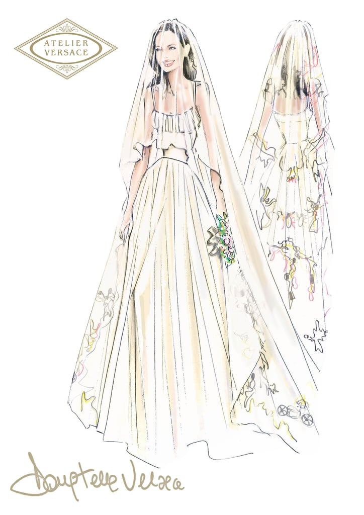 A sketch of Angelina's wedding dress and veil.  Courtesy of Versace