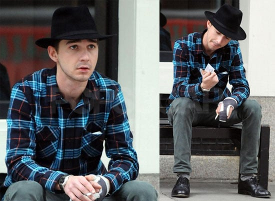 Photos of Shia LaBeouf on a Bench in NYC