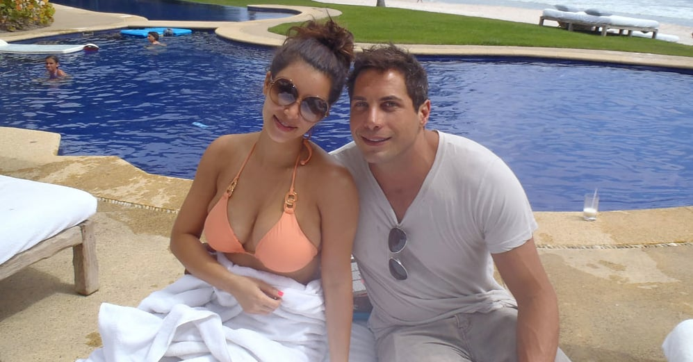 Kim posed poolside with Joe.  Source: Casa Aramara