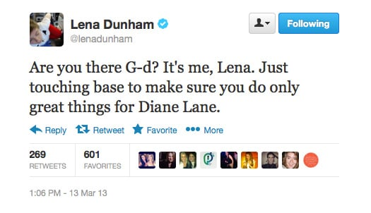 Lena Dunham wishes only good things for Diane Lane after news of her marriage breakdown hit the gossip circuit.