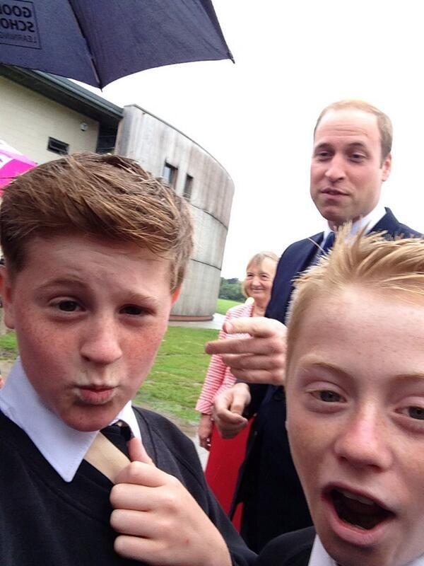 "A schoolboy in East Riding of Yorkshire, England, snapped what he called a ""cheeky"" photo of Prince William when the royal visited his school in June 2014. Source: Twitter user RaspinJack"