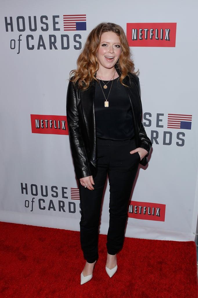 Natasha Lyonne wore a black leather jacket.