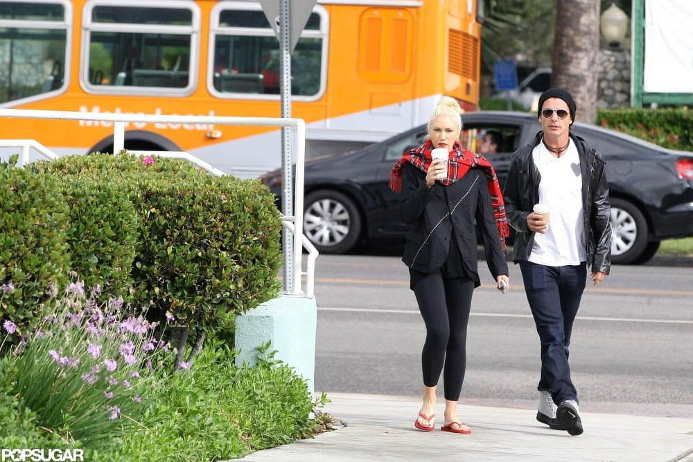 Gwen Stefani and Gavin Rossdale walked together during a coffee stop.